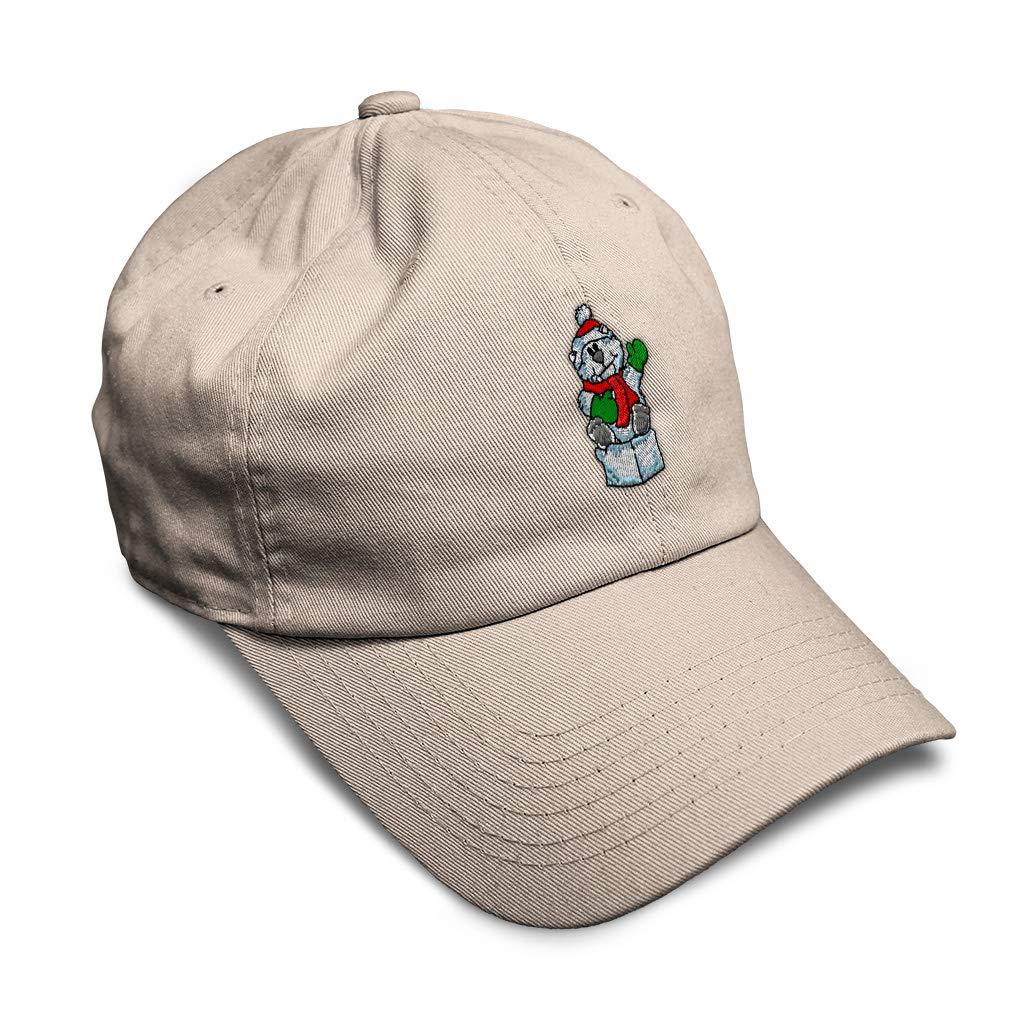 Custom Soft Baseball Cap Christmas Polar Bear Embroidery Twill Cotton