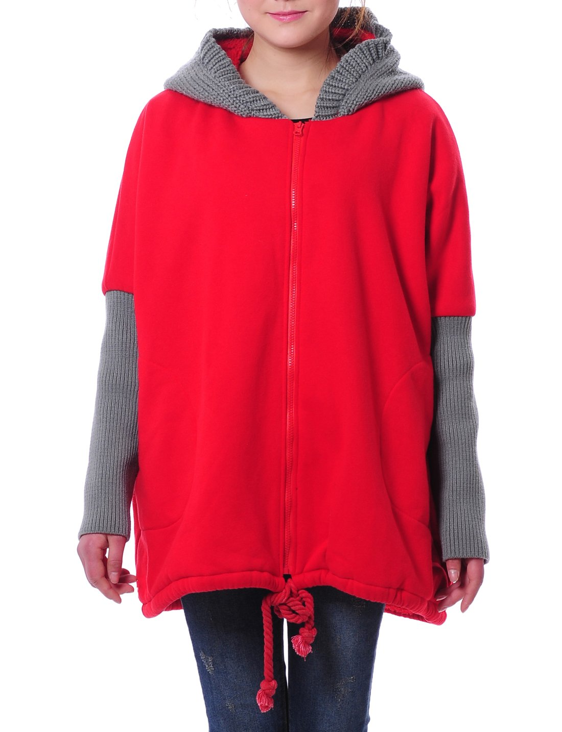 2 Colors Patchwork Hooded Women Winter Top Blouse Size Us 30w Aolo-486 (Red/grey)