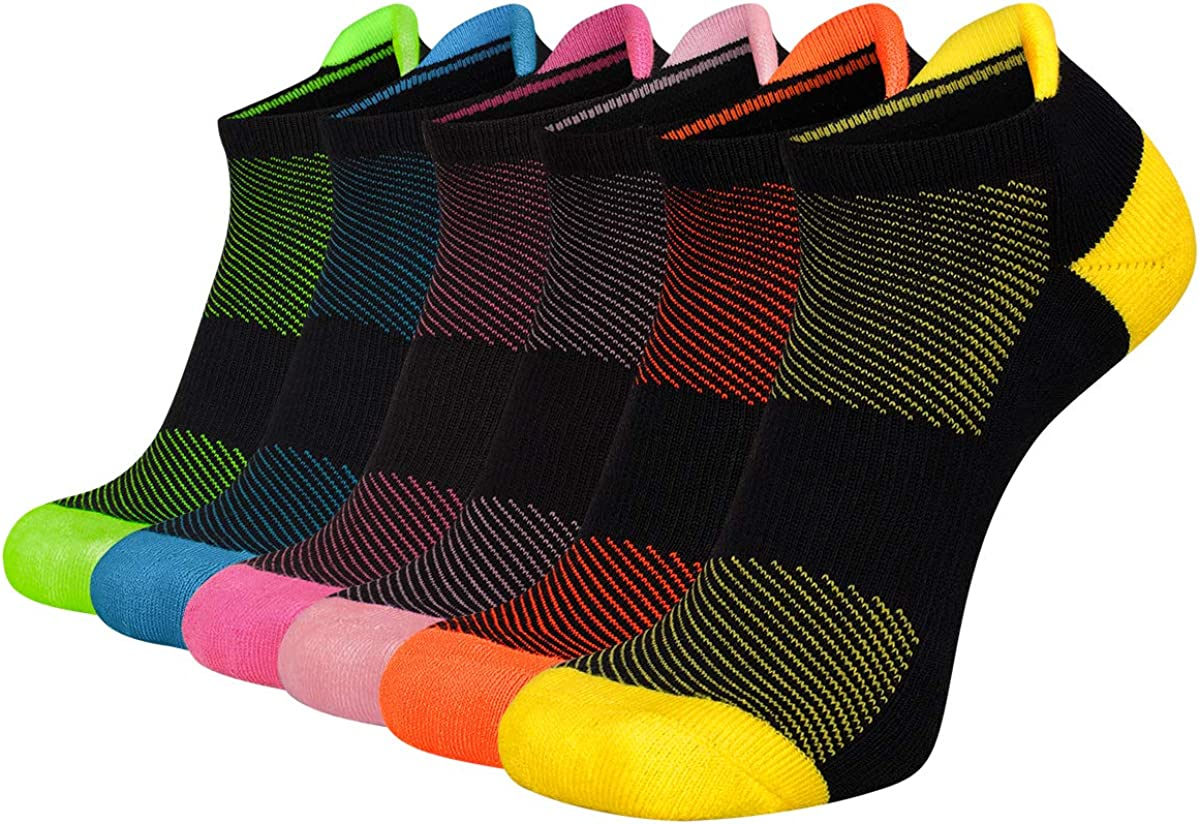 FLYRUN Women/'s Ankle Socks Athletic Running Socks 6 Pairs Cushioned Tab Socks