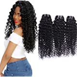 Maxine 7 a grade Brazilian Virgin Hair Deep Curly Wave 3 Bundles 100% Unprocessed Human Hair Natural color nero può essere tinto e sbiancato