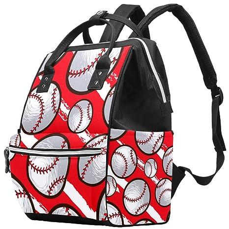 Mochila de béisbol con diseño de balón de fondo rojo para pañales ...