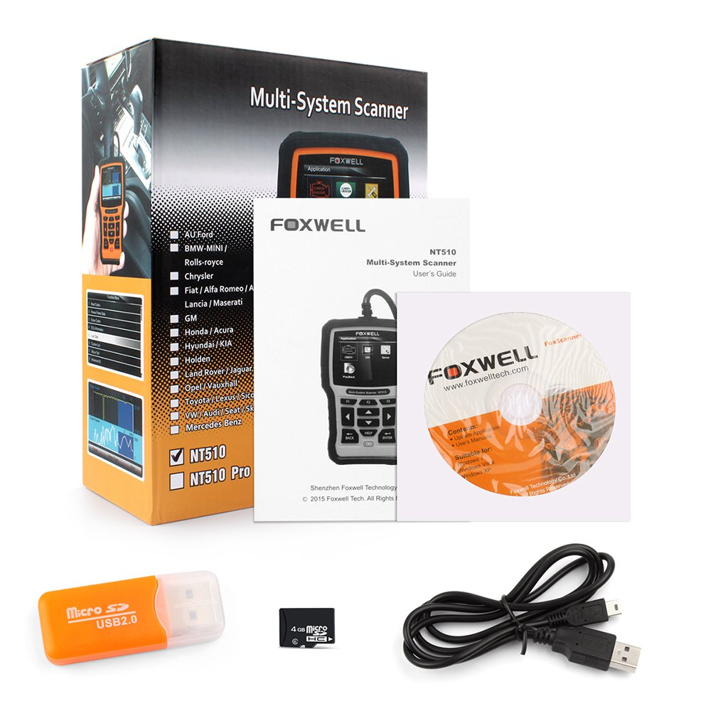 FOXWELL NT510 DIY Full-System Diagnostic Scan Tool OBD II Code Reader with Special Service Functions, Work on ABS, CBS, EPB, Electronic Power Steering, Transmission Systems