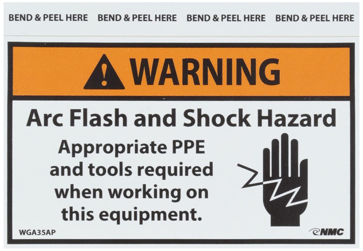 Nmc Wga35ap Arc Flash Label Legend Quot Warning Arc Flash And