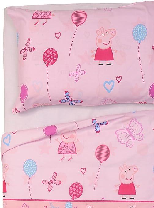 Peppa Pig - Juego de sábanas para cama individual, diseño de mariposas, color rosa, 150 x 280 cm: Amazon.es: Hogar