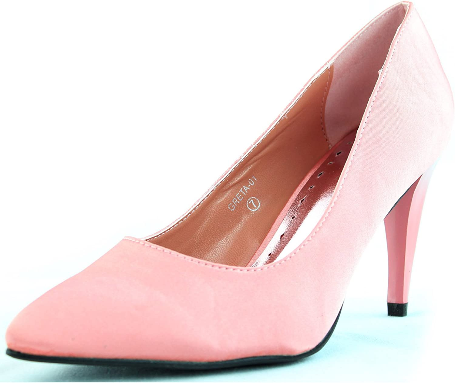 Nature Breeze Women's Smooth Satin Chunky High Heel Pointy Toe Pump Fashion Shoes