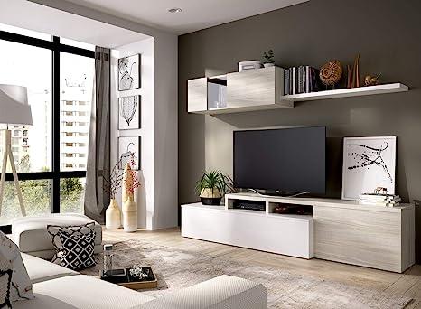 LIQUIDATODO ® - Salón de diseño 200 cm moderna y barata en blanco brillo y gris