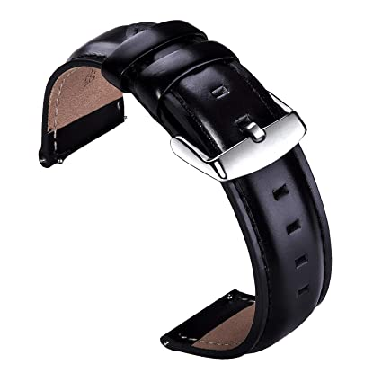 fb87375e0fcd4 VIQIV Leather Watch Band Quick Release Wrist Straps Accessories 18mm 20mm 22mm  Replacement for Fossil Q