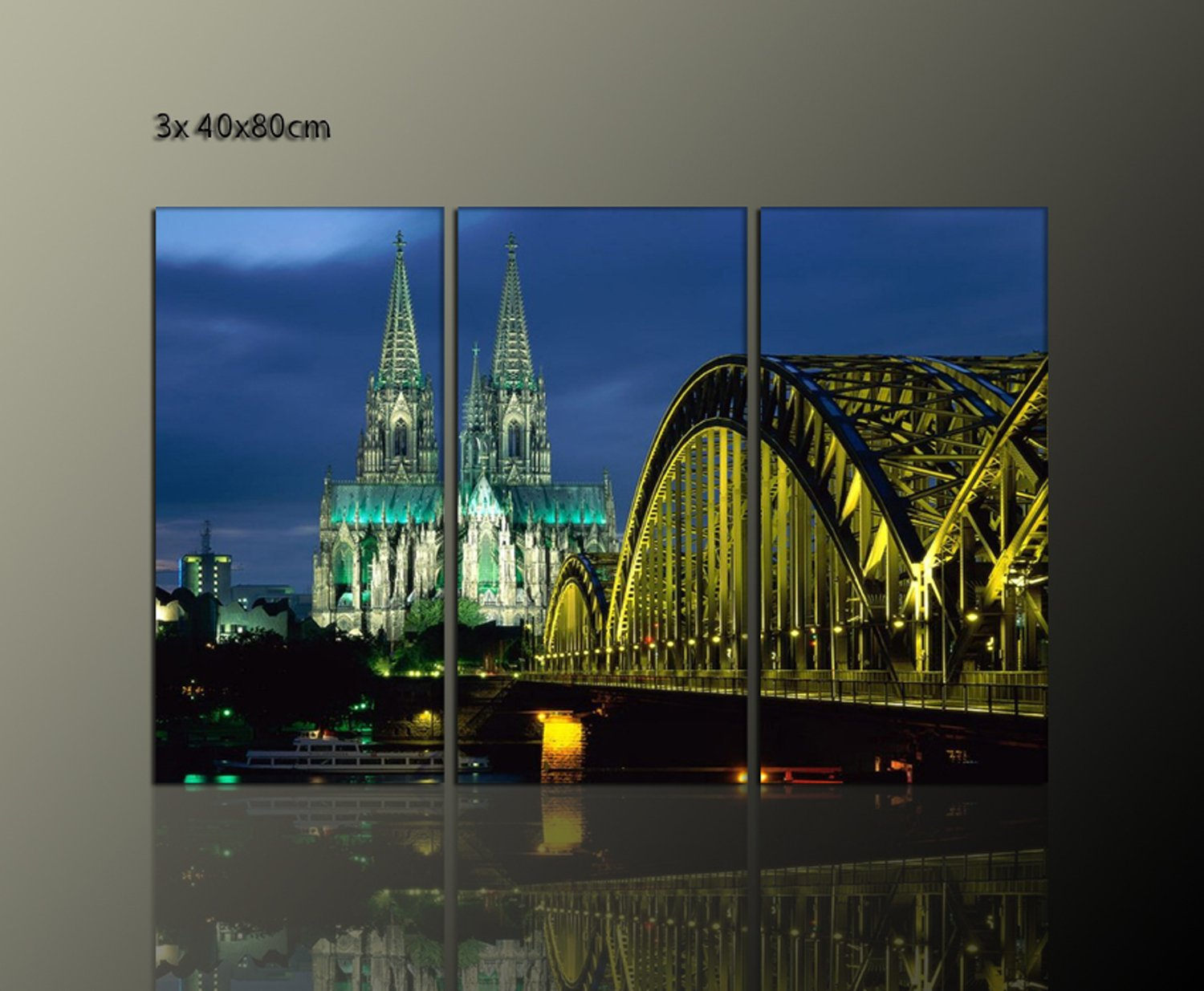 DOMBILD 3 Piece Wall Picture on Canvas, Framed (Cologne Cathedral 3 x 40 x 80 CM Cologne City Pictures Ready Framed on Stretcher Frame-Bonded fleece print on Leinwand. Good value including frame Cologne_Cathedral_3x40x80