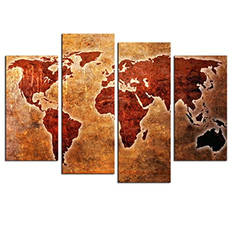 Amazon.com: Sea Charm- Vintage Abstract Map Wall Art Multi Pieces ...