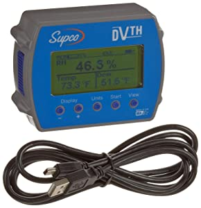"""Supco DVTH Data View Temperature and Humidity Data Logger with Display, 4"""" Length x 3-3/64"""" Width x 1-1/2"""" Height"""