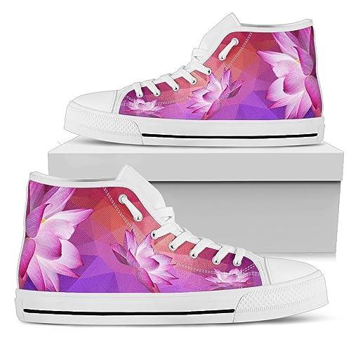 Custom Hi Tops Pink Lotus Shoes