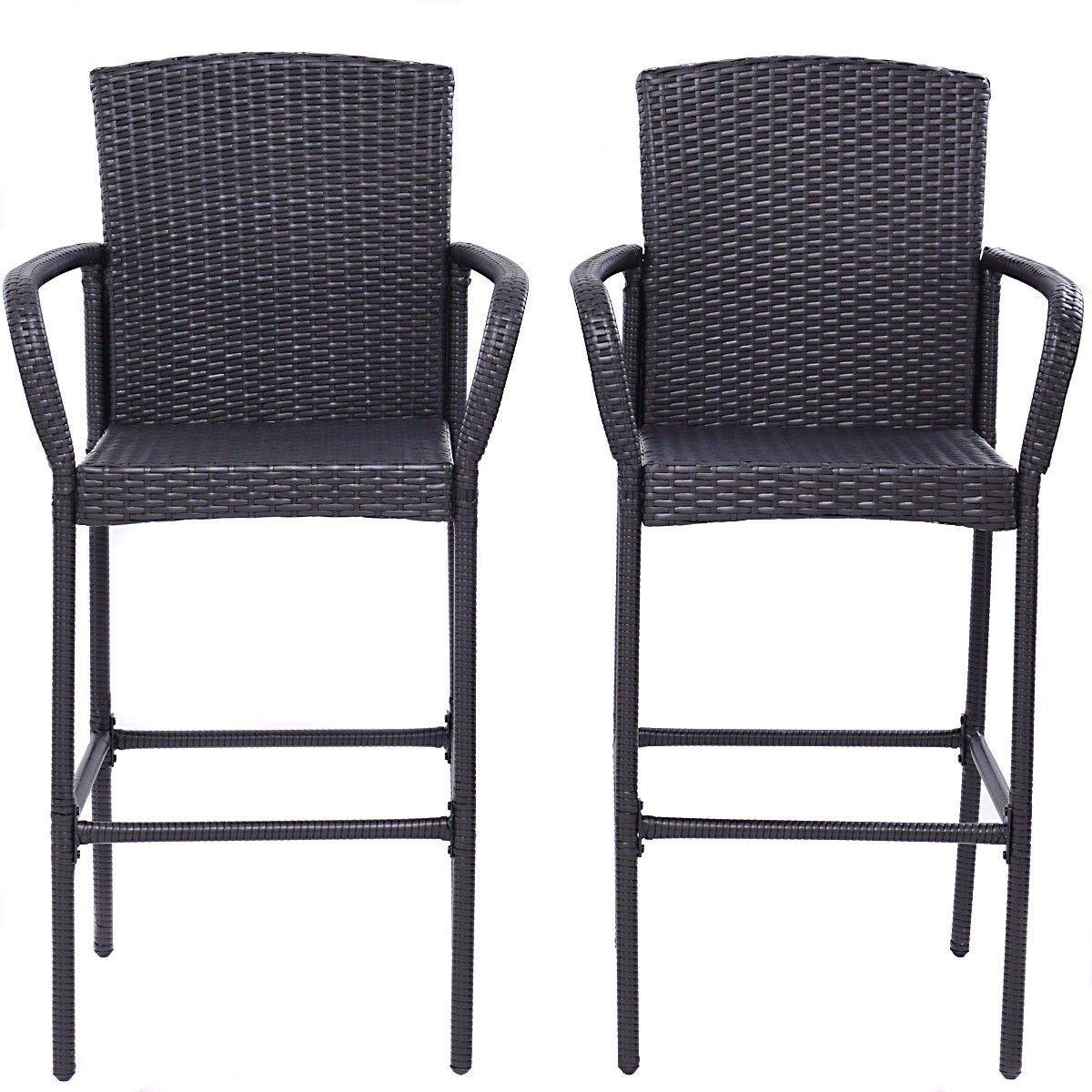 Amazon com zwan 2 pcs rattan bar stool dining patio chair with ebook garden outdoor