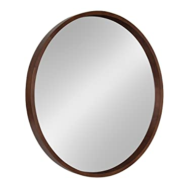 Kate and Laurel Hutton Decorative Mirror, 30  Diameter, Walnut Brown