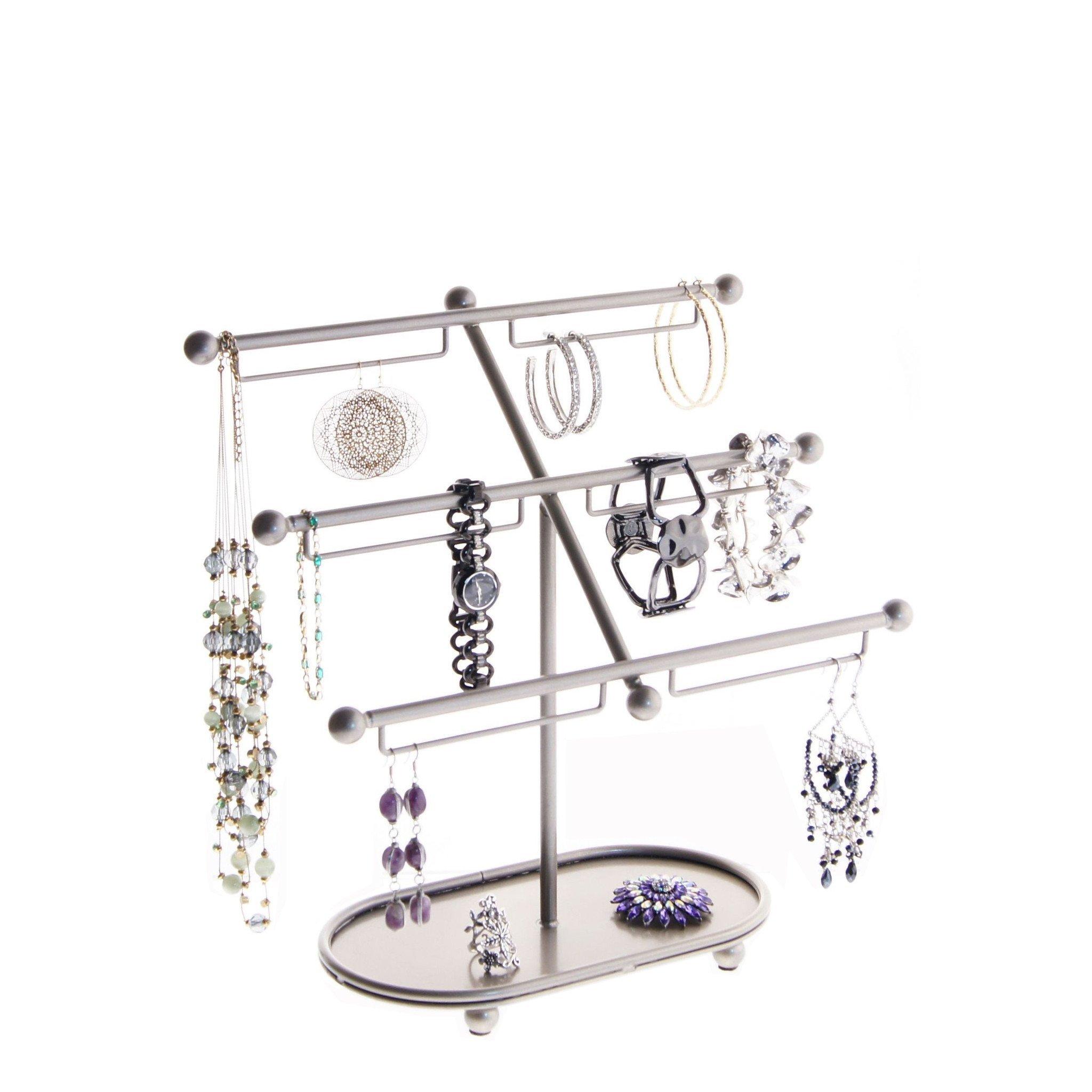 Angelynn's Jewelry Holder Earring Organizer Tree Stand Bracelet Storage Rack, Isabel Satin Nickel Silver