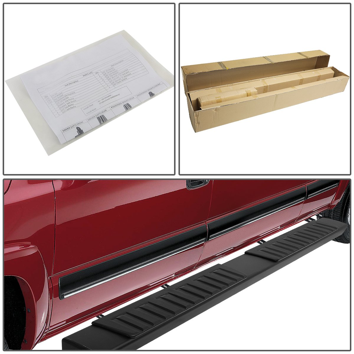 For 07-18 Chevy Silverado//GMC Sierra Crew Cab Pair OE Style Aluminum 6 Nerf Step Bar Running Boards