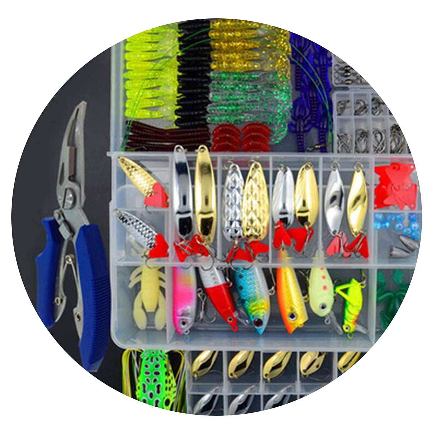 207pcs and plier 205 206 207Pcs Fishing Lures Set Mixed Plier Grip Spoon Hooks Soft Lure Kit in Box Artificial Bait Fishing