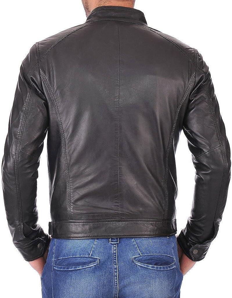 New Men Genuine Cow Leather Black Slim FIT Biker Jacket KC601