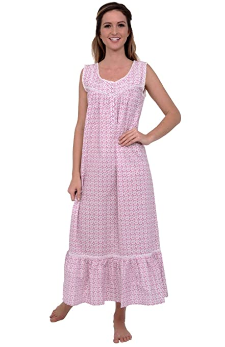 Vintage Inspired Nightgowns, Robes, Pajamas, Baby Dolls Alexander Del Rossa Womens Patricia Cotton Nightgown Long Victorian Sleeveless Sleepwear $34.99 AT vintagedancer.com