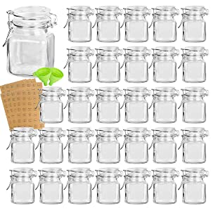 Spice Jars, KAMOTA 30 PACK 4oz Small Glass Jars with Leak Proof Rubber Gasket and Airtight Hinged Lid, 280 Spice Labels & 2 Silicone Funnels, Perfect for Spice Herb Seasoning Art Craft Storage Empty