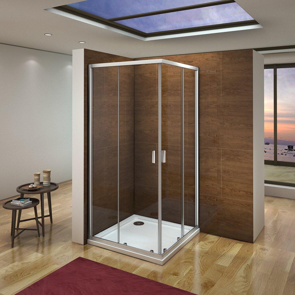 Cabina de ducha mampara de ducha corredera puerta 6mm Easyclean cristal Aica 80x80cm Aica Sanitaer