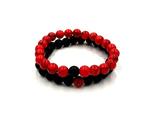 1e7b3d0d307e Perla Pulseras Rojo Negro perlas piedra natural Hombres Mujeres ...
