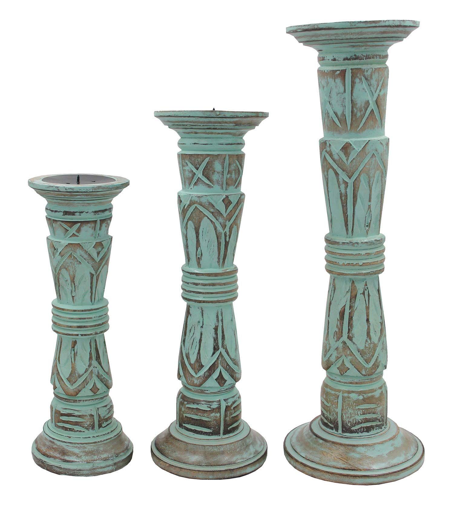 DharmaObjects Set of 3 Wooden Candle Holders - Height 17'', 14'', 12'' (Green)