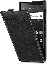 StilGut UltraSlim Case, custodia per BlackBerry Key2 flip case in vera pelle con funzione on/off