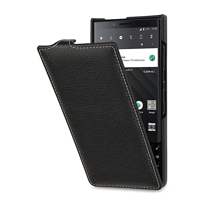 big sale 29939 83f96 StilGut Case Compatible with BlackBerry Key2 Slim Vertical Leather Flip  Cover, Black