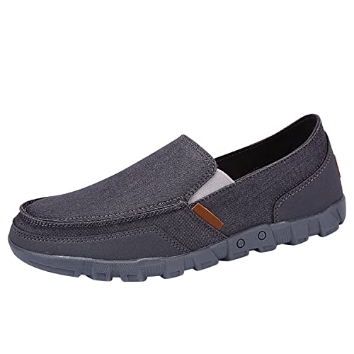 1fc0408e329 Frestepvie Mens Canvas Loafer Shoes Breathable Outdoor Slip On Walking  Sneakers Grey ER40