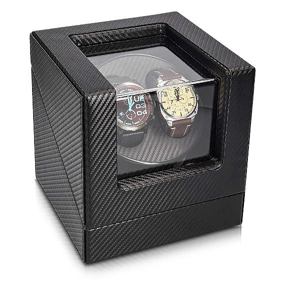 Navaris Caja giratoria para Relojes - Estuche Giratorio con Look de Fibra de Carbono - Vitrina de Movimiento para 2 Relojes de 20x18x18CM con 4 Modos: ...