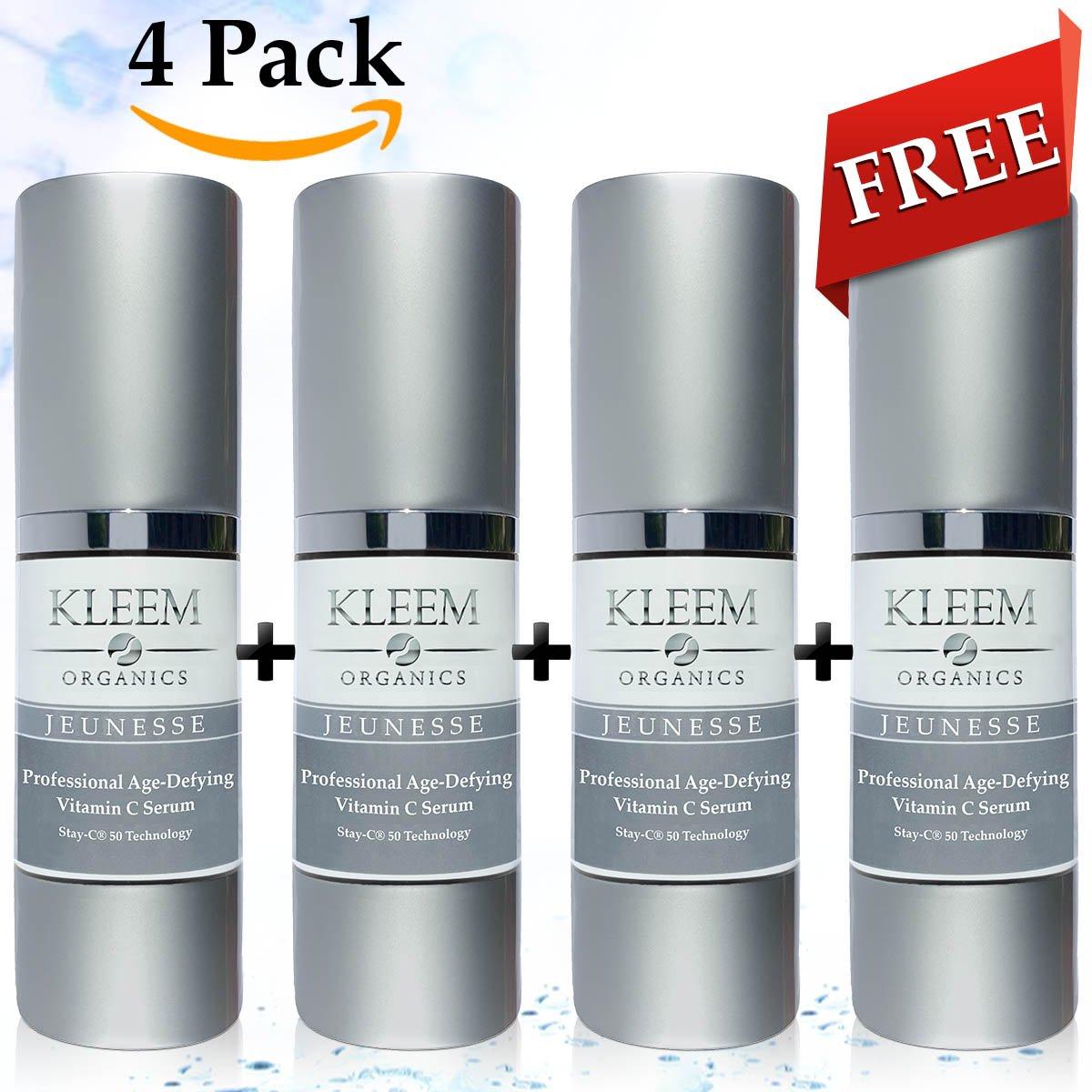 4Pack Natural y Orgánico anti envejecimiento suero de vitamina C para la cara con ácido hialurónico. El más efectivo antiarrugas Serum y oscuro Spot Remover Kleem Organics