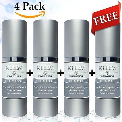 4 Pack Natural y Orgánico anti envejecimiento suero de vitamina C para la cara con ácido