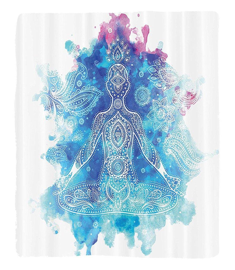 Chaoran 1 Fleece Blanket on Amazon Super Silky Soft All Season Super Plush Yoga Decor Collection Ornamental Indian Art Meditation Chakra Mala Lotus Cross-Legged Position Image Fabric et Navy Aqua by chaoran