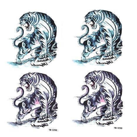 2pcs azul marino impresión del tigre pegatinas transferencia ...