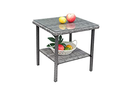JETIME Patio Furniture Wicker Rattan Outdoor Coffee Side Table with Tempered Glass Top Indoor Garden Bistro Table Grey