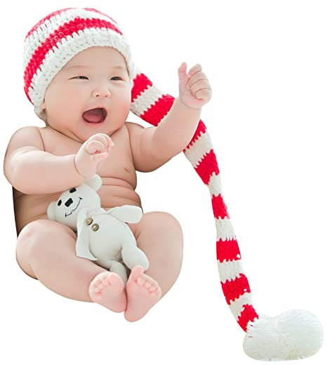 5071b306c Bienvenu Christmas Holiday Baby Red White Outside Crochet Stocking Hat Baby  Photograph Props