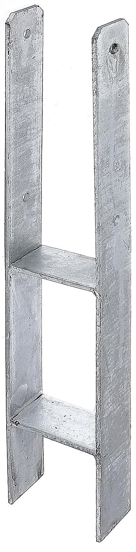 GAH-Alberts 219925 H-Pfostenträ ger - feuerverzinkt, Gesamthö he: 800 mm, Materialstä rke: 6 mm, lichte Breite: 91 mm