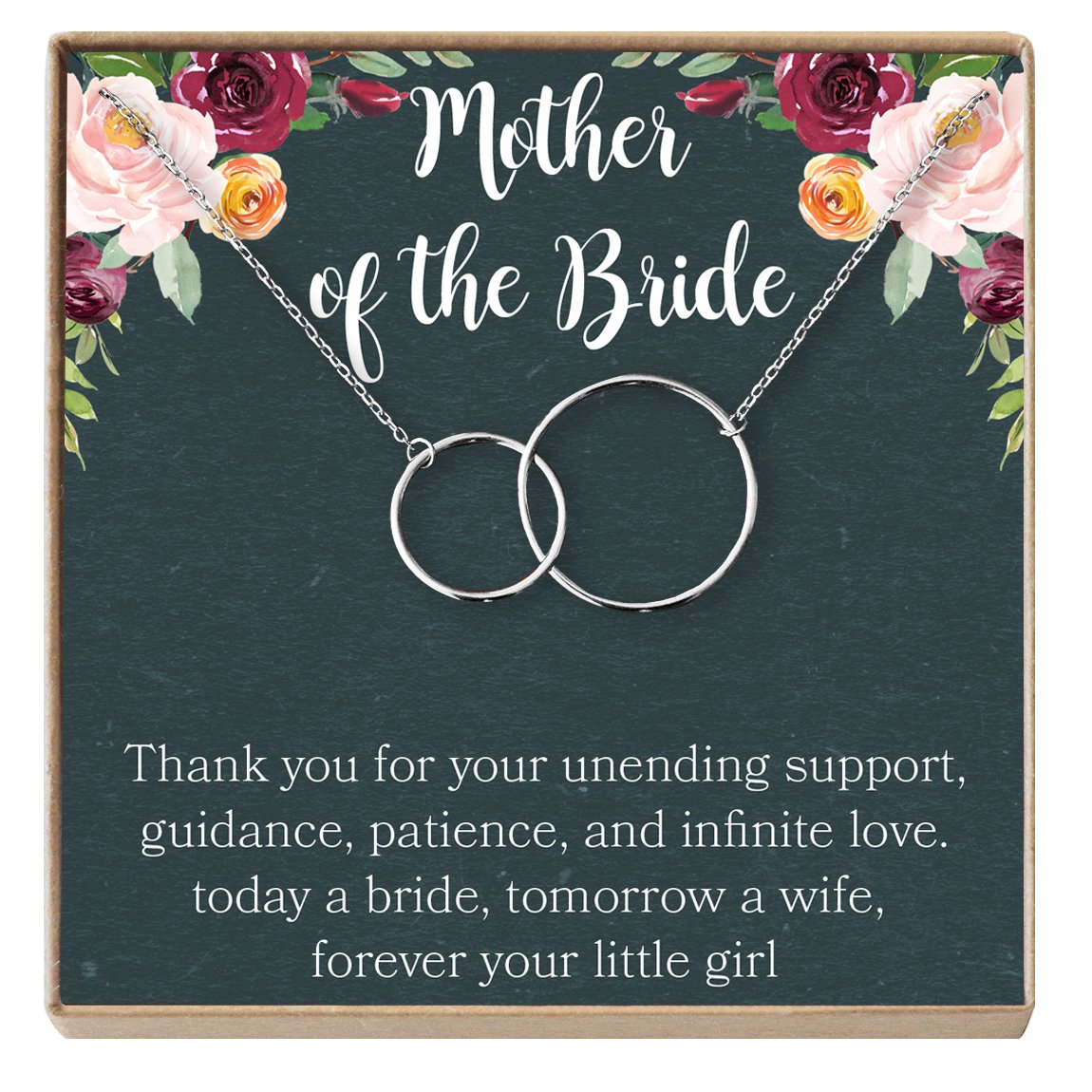 Mother of The Bride Gift Necklace: Wedding Gift, Bridal Party, Rehearsal Dinner, Woman of My Dreams, Parent of Bride (Silver-Plated-Brass, NA) by Dear Ava