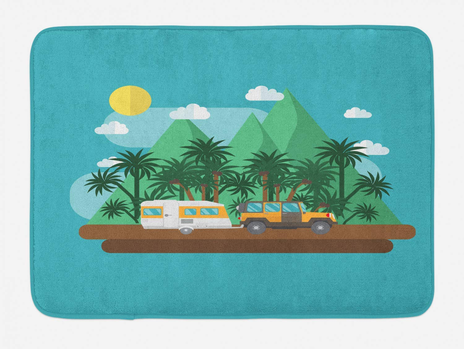 Plush Bathroom Decor Mat with Non Slip Backing RV Bath Mat 31.5 W X 19.68 L Inches Multicolor Traveler SUV in The Mountains with Exotic Palm Trees Flat Design Outdoors Adventure