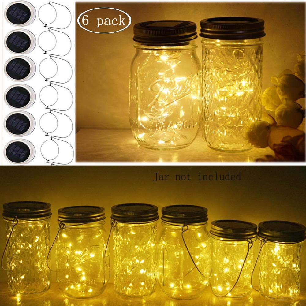 Miaro 6 Pack Mason Jar Lights, 10 LED Solar Warm White Fairy String Lights Lids Insert for Garden Deck Patio Party Wedding Christmas Decorative Lighting Fit for Regular Mouth Jars with Hangers by Miaro (Image #1)