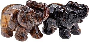JOVIVI 2pc Natural Carved Gemstones Elephant Figurine 1.5'' Room Decoration, with Gift Box (Tiger Eye)