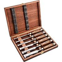 EZARC 6 st trämejselset för träbearbetning – CRV-stål med svart valnötshandtag i trä förvaringsbox