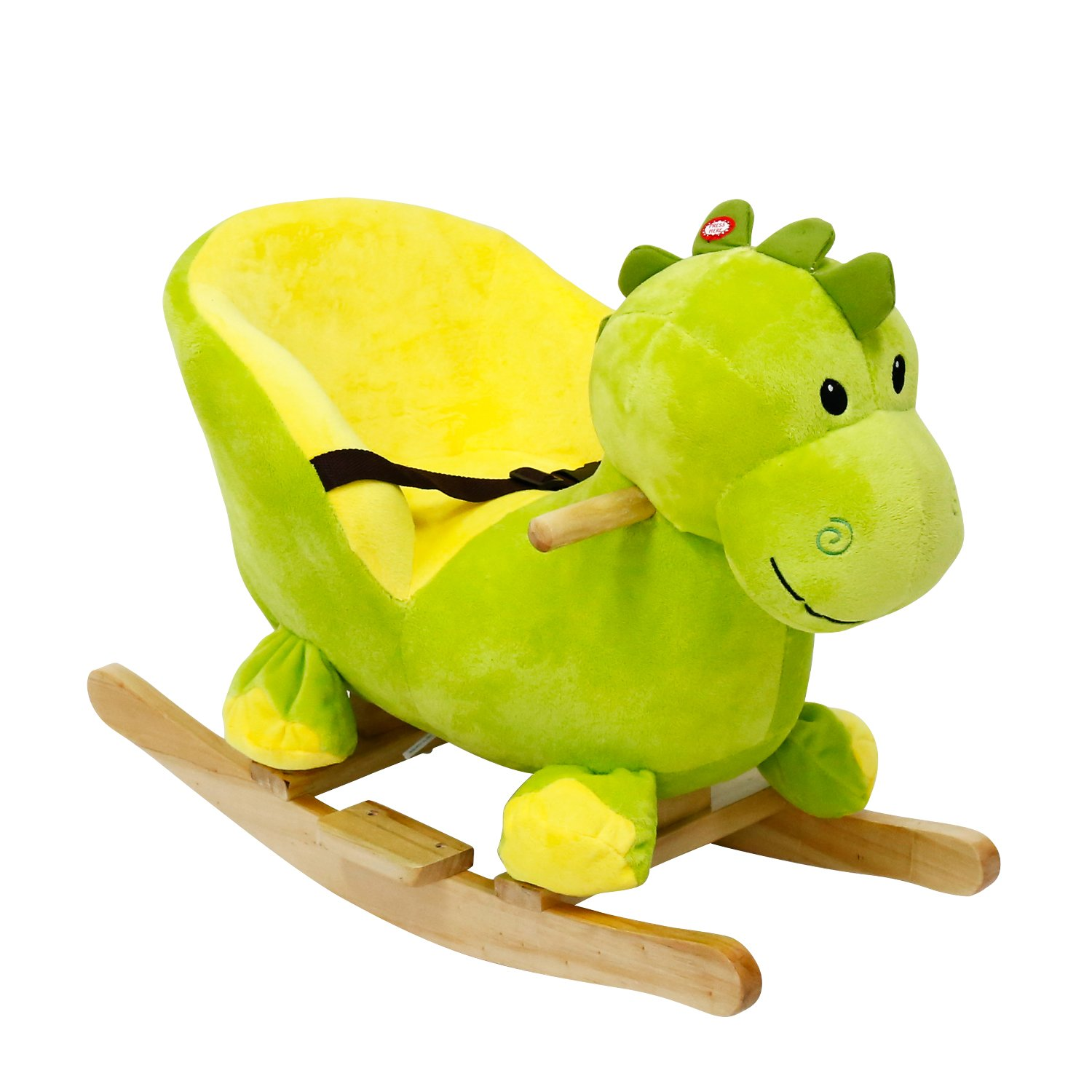 Kinbor Baby Kids Toy Plush Rocking Horse Little Dinosaur Theme Style Riding Rocker with Sound, Seat Belts