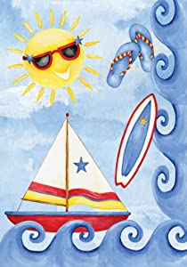 """Toland Home Garden Surf and Sail 28 x 40 Inch Decorative Colorful Summer Sunshine Sailing Boat House Flag, House Flag (28"""" x 40"""")"""