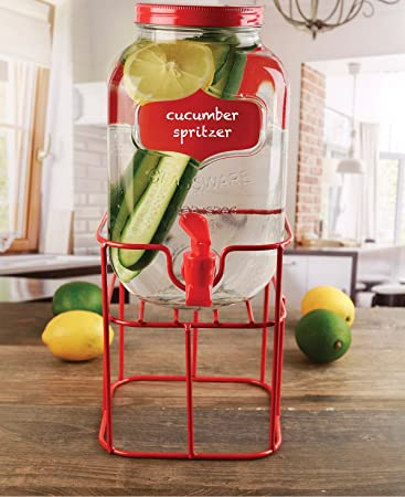 Circleware 69137 Chalkboard Mini Yorkshire Mason Jar Glass Beverage Drink Dispenser with Red Metal Stand, Spout & Lid, 1 Gallon, Glassware for Water, ...