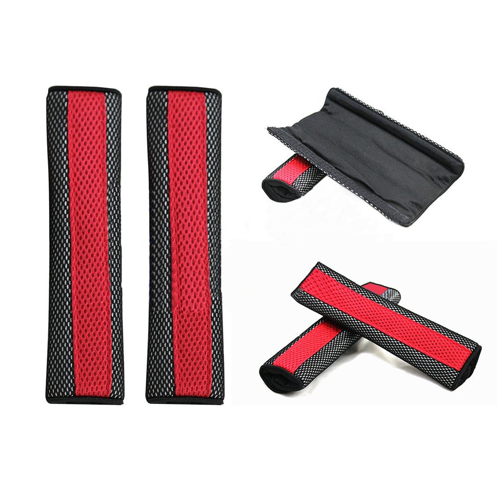 Gluckliy 1 Pair Car Seat Belt Strap Covers Cushion Shoulder Comfort Pad Black