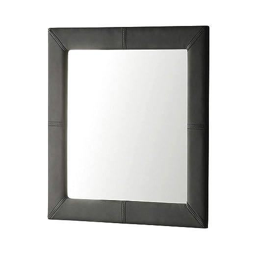Adec - Espejo de pared tapizado, espejo cuadrado salón, recibidor, comedor, dormitorio, acabado en símil piel color Negro, Medidas 70x70x3 cm de Fondo