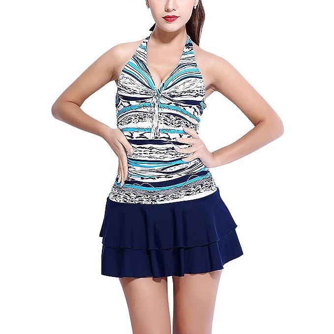 molto carino 306af 2c157 Dolamen Donna Costume da Bagno con Gonna, One Piece Floreale ...