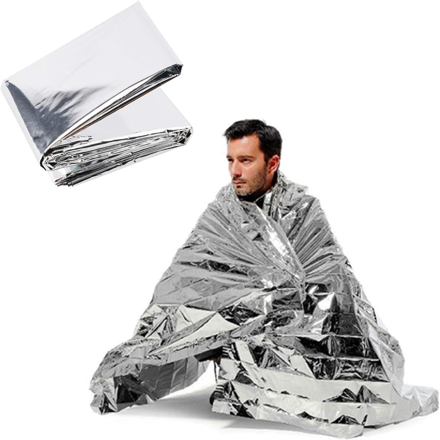 3 Pcs Emergency Blanket Thermal Mylar Space Blanket Silver Foil Blanket Survival
