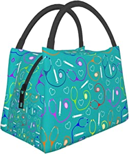 Insulated Lunch Bag Medical Theme Nurse Leakproof Durable Reusable Thermal Lunch Box Cooler Tote Men Women For Work School Fishing Travel Picnic